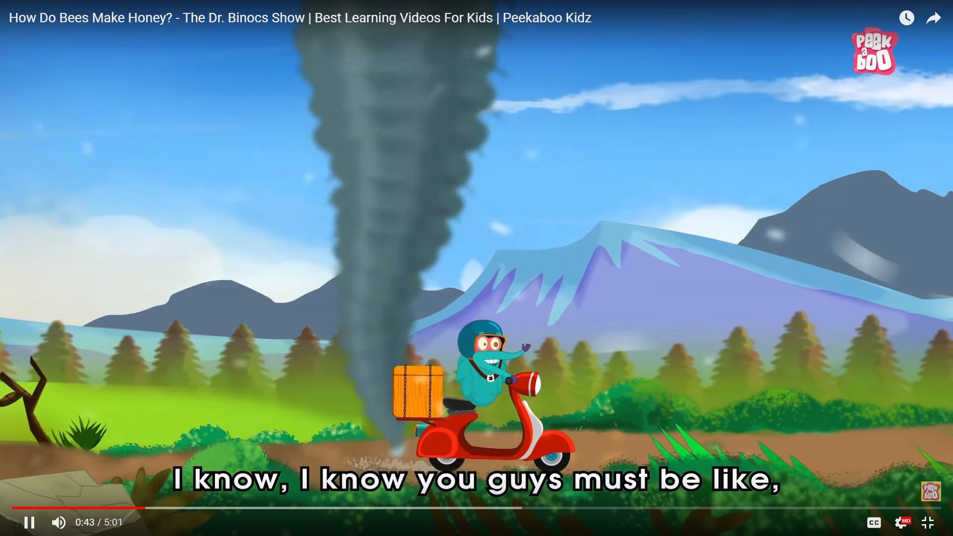 Dr. Binocs screenshot with Dr. Bionics riding a vespa in front of a cartoon tornado