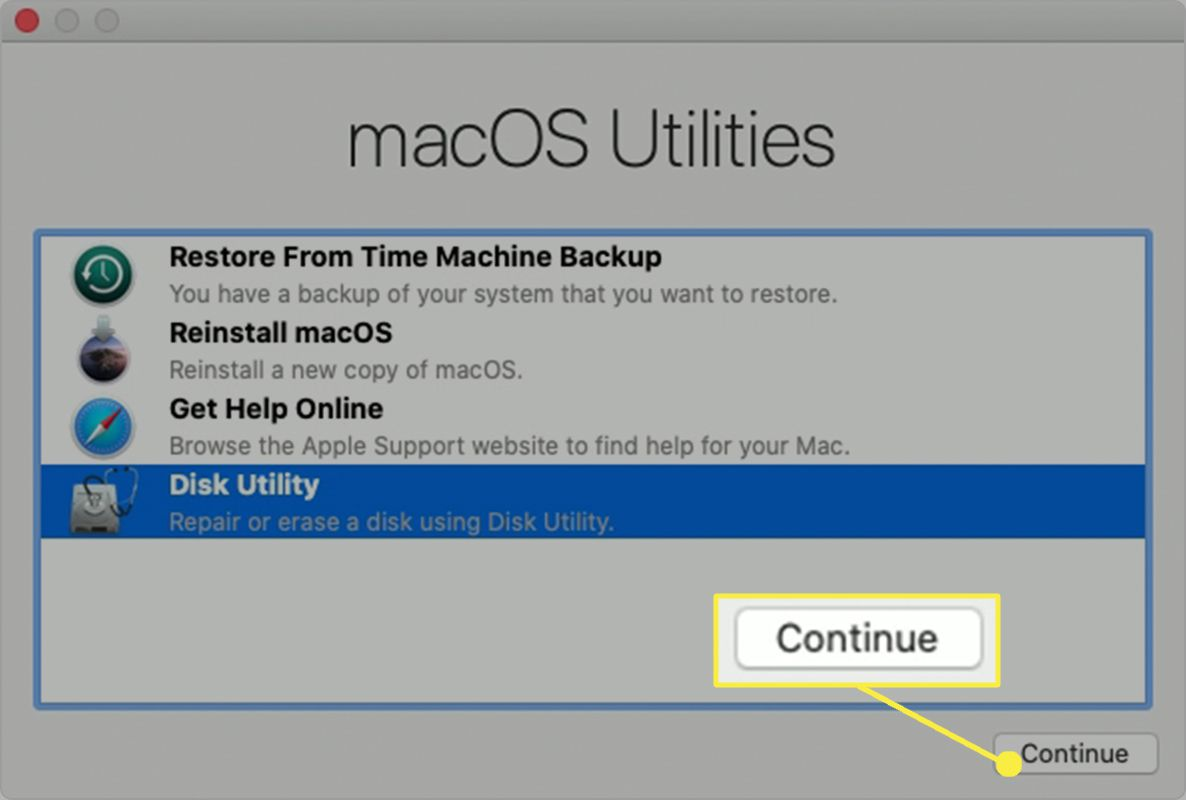 Select Disk Utility and then Continue