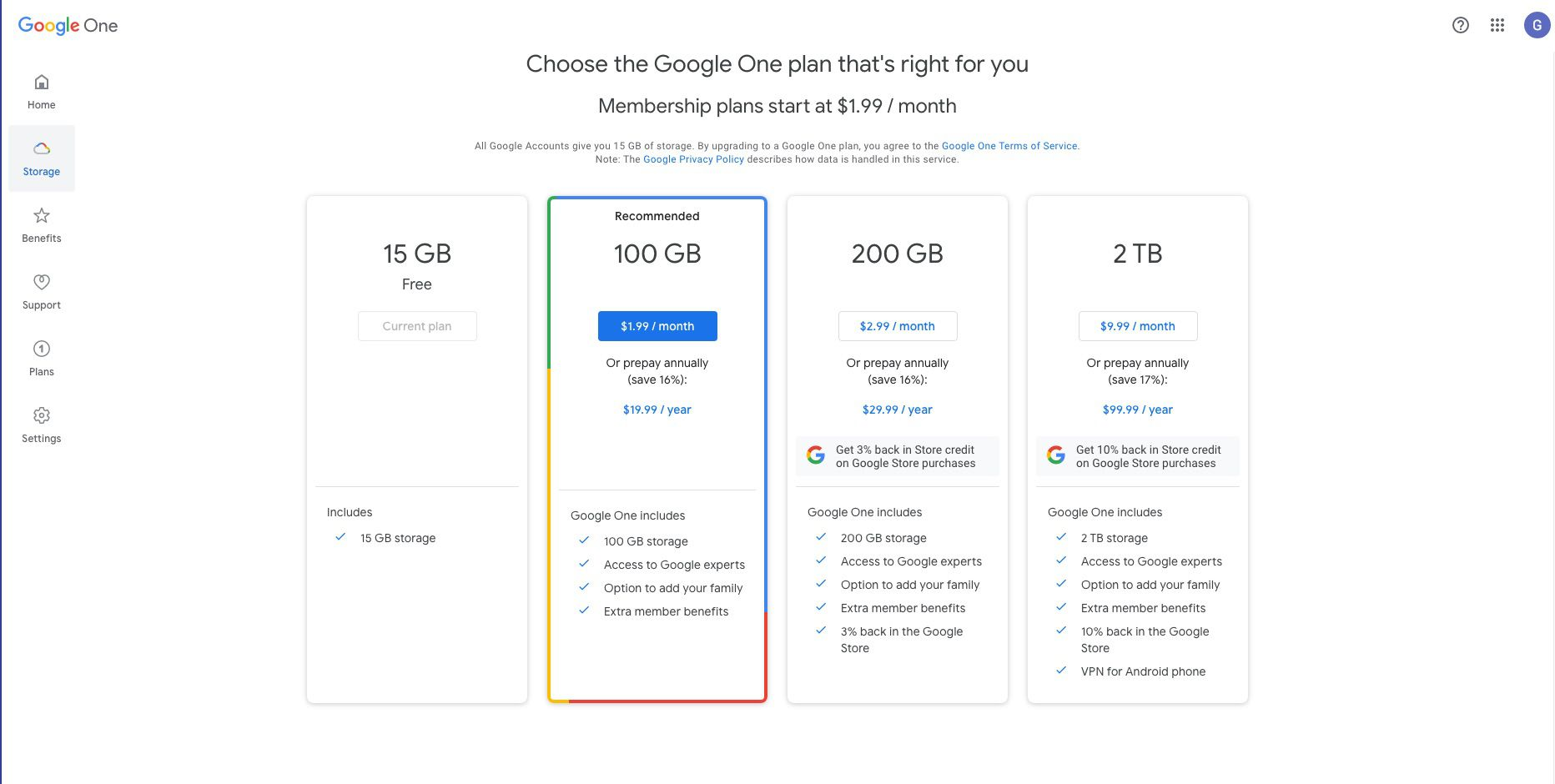 Google One subscription plans available