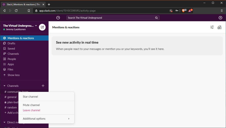 A screenshot of muting a channel in Slack.