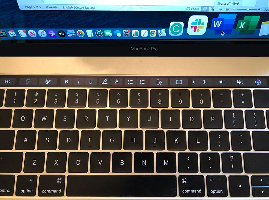 Touch Bar on an MacBook Pro