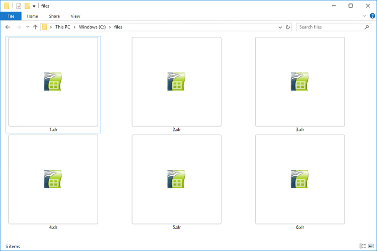 Screenshot of several XLR files in Windows 10 that open with OpenOffice Calc