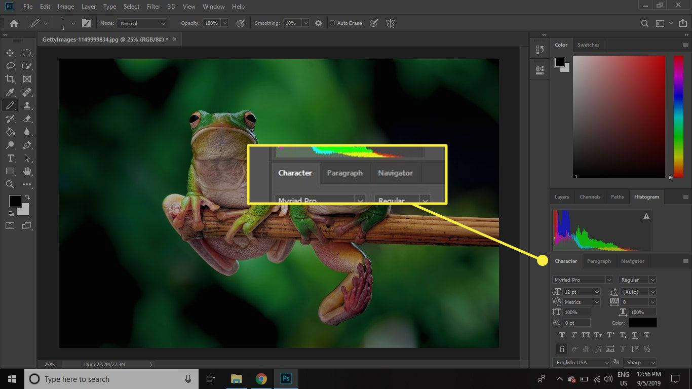 A screenshot of Photoshop with tabbed windows highlighted