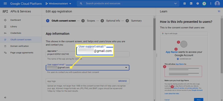 User support email on Google Cloud Platform