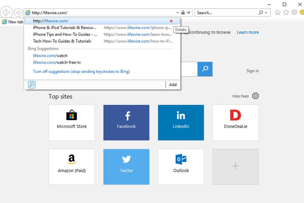 Clear search bar in Internet Explorer