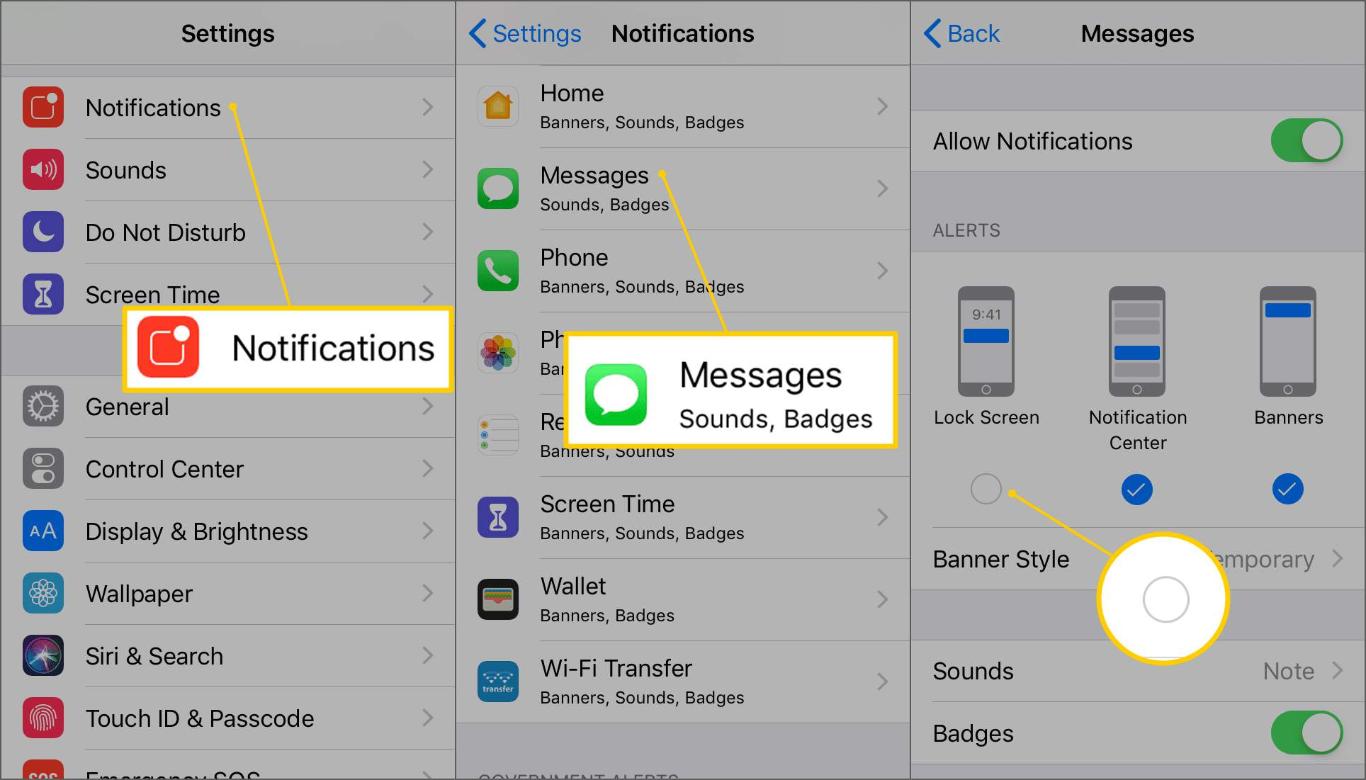 Iphone on message how change notification to Ways to