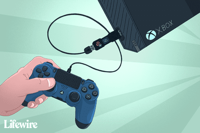 PS4 controller connected via wire and adaptor to Xbox
