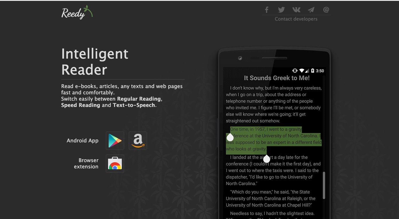 Reedy Android speed reading app