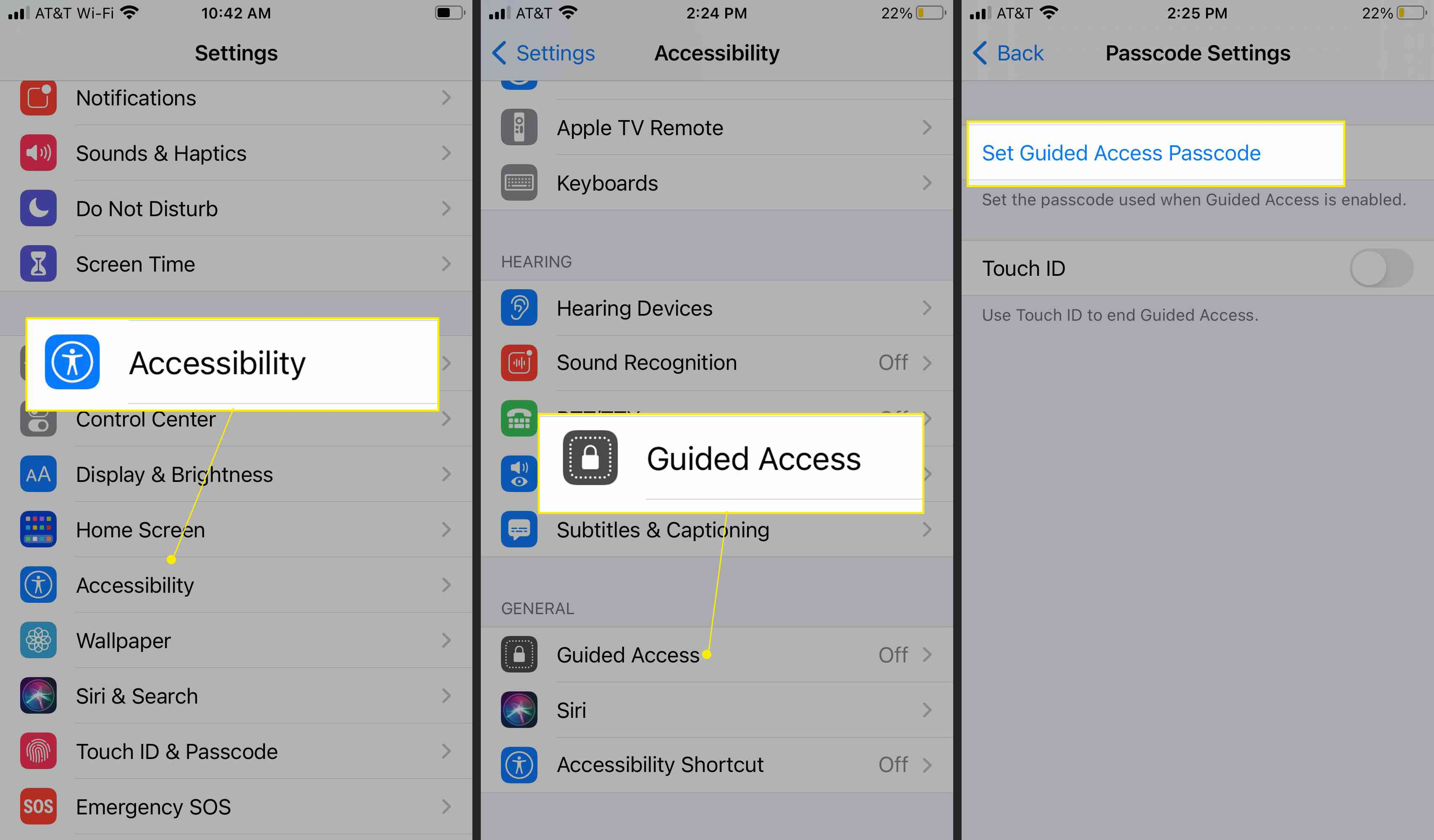 Accessibility Settings with Guided Access and