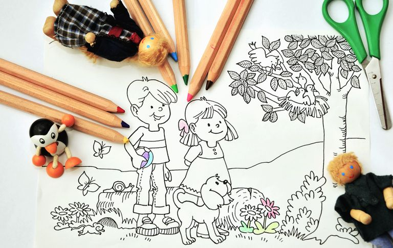 Colored Pencils Scissors Coloring Page
