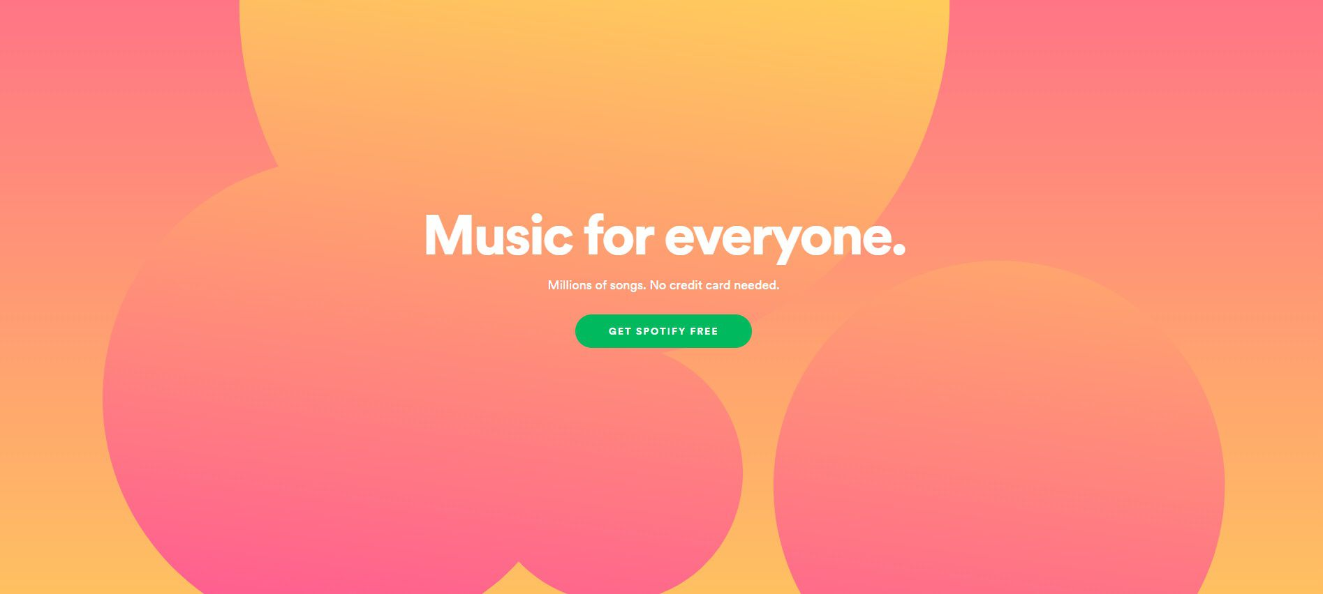 Screenshot of the Spotify home page