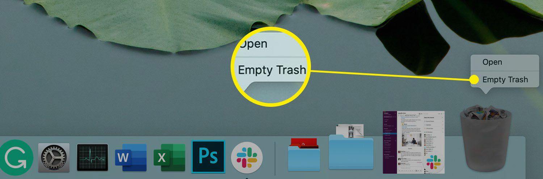 Trash Can in the Mac Dock