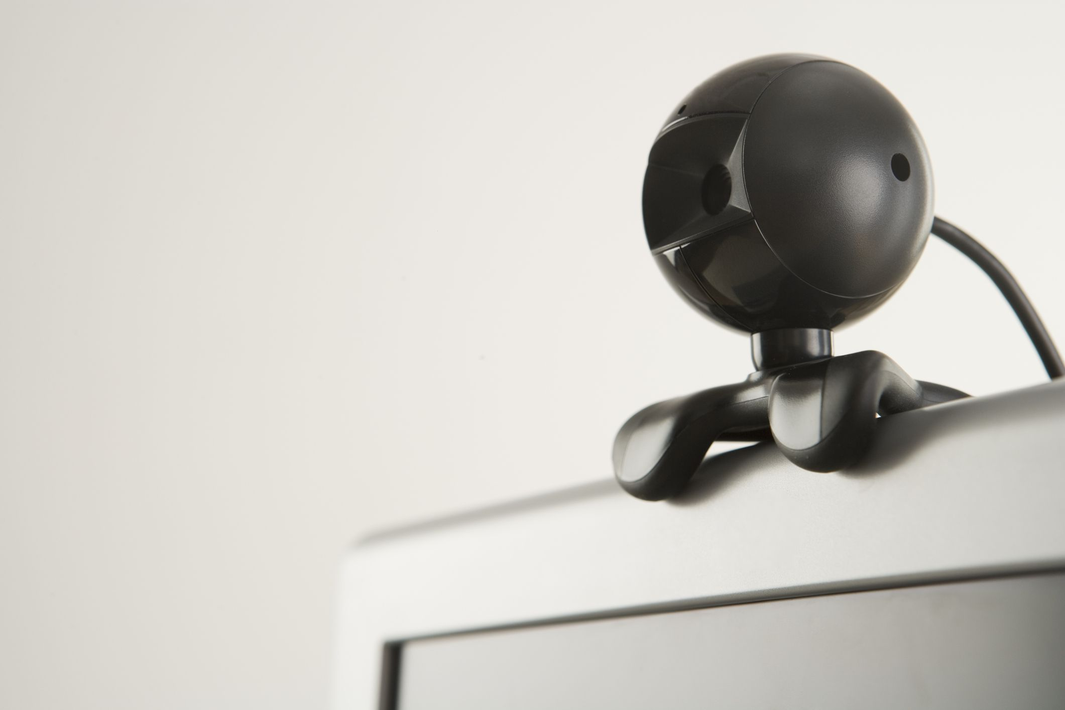 An IP webcam perched on top of a television