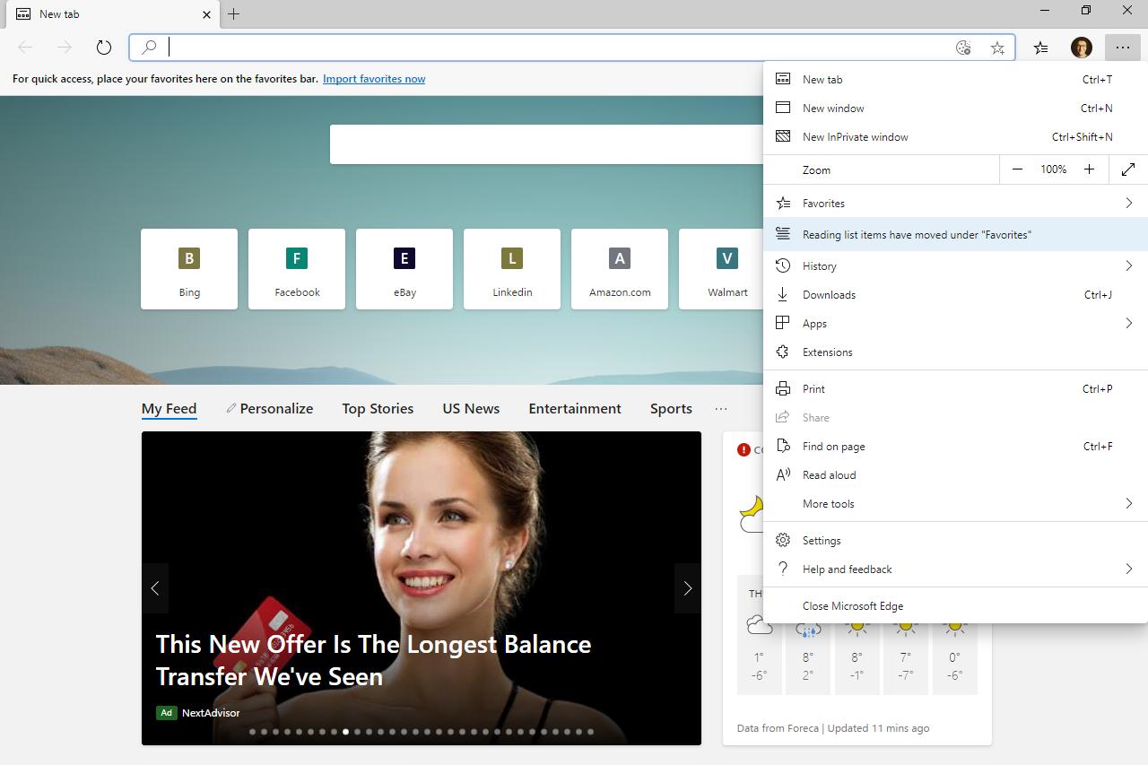 Settings button in Microsoft Edge