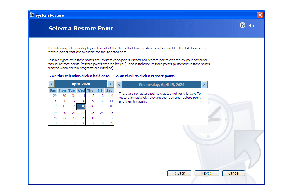 Windows XP System Restore utility