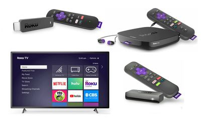 Roku Streaming Stick (TL), Ultra (TR), Roku TV (BL), Express (BR)