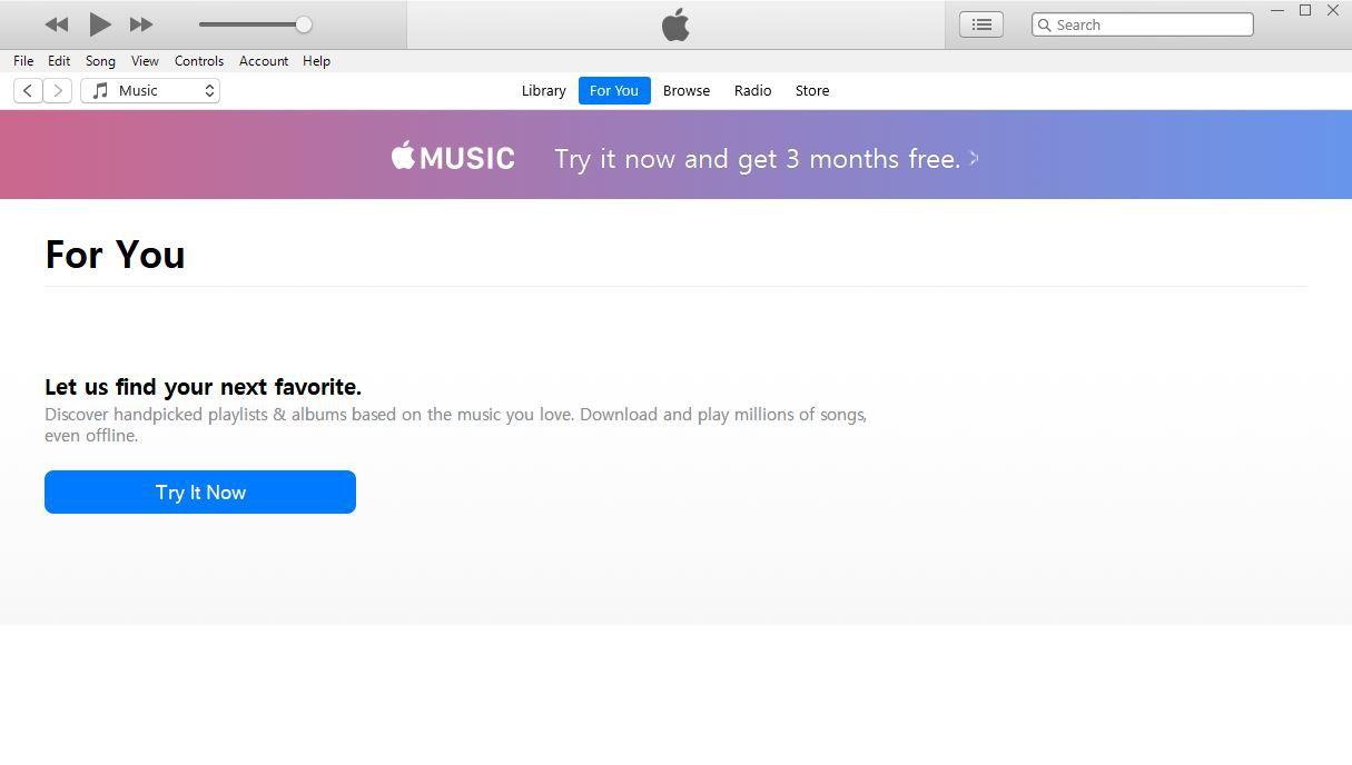 A screenshot of iTunes Apple Music screen