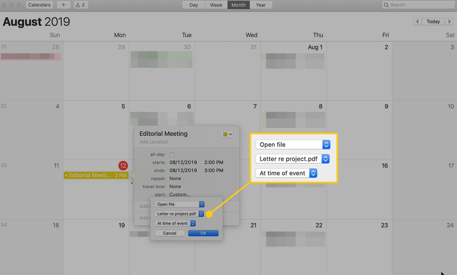 Attaching a file to an alert in Calendar