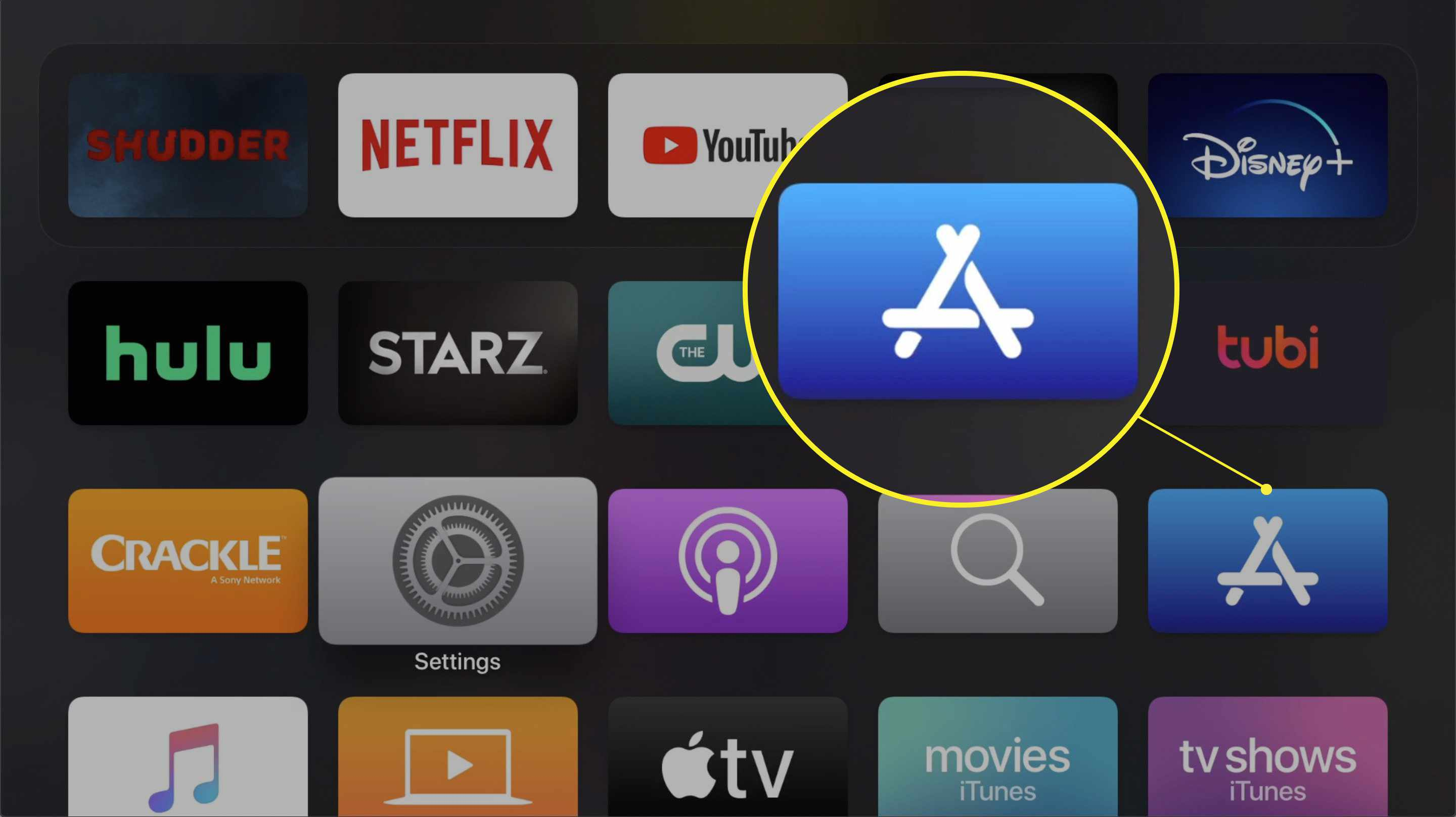 Apple TV main menu showing the App Store icon