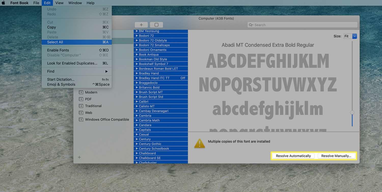 Font Book showing duplicate font banner