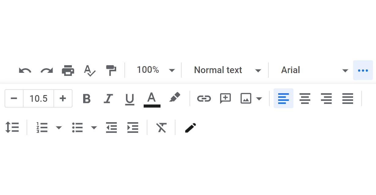 Screenshot of the Google Docs editing menu