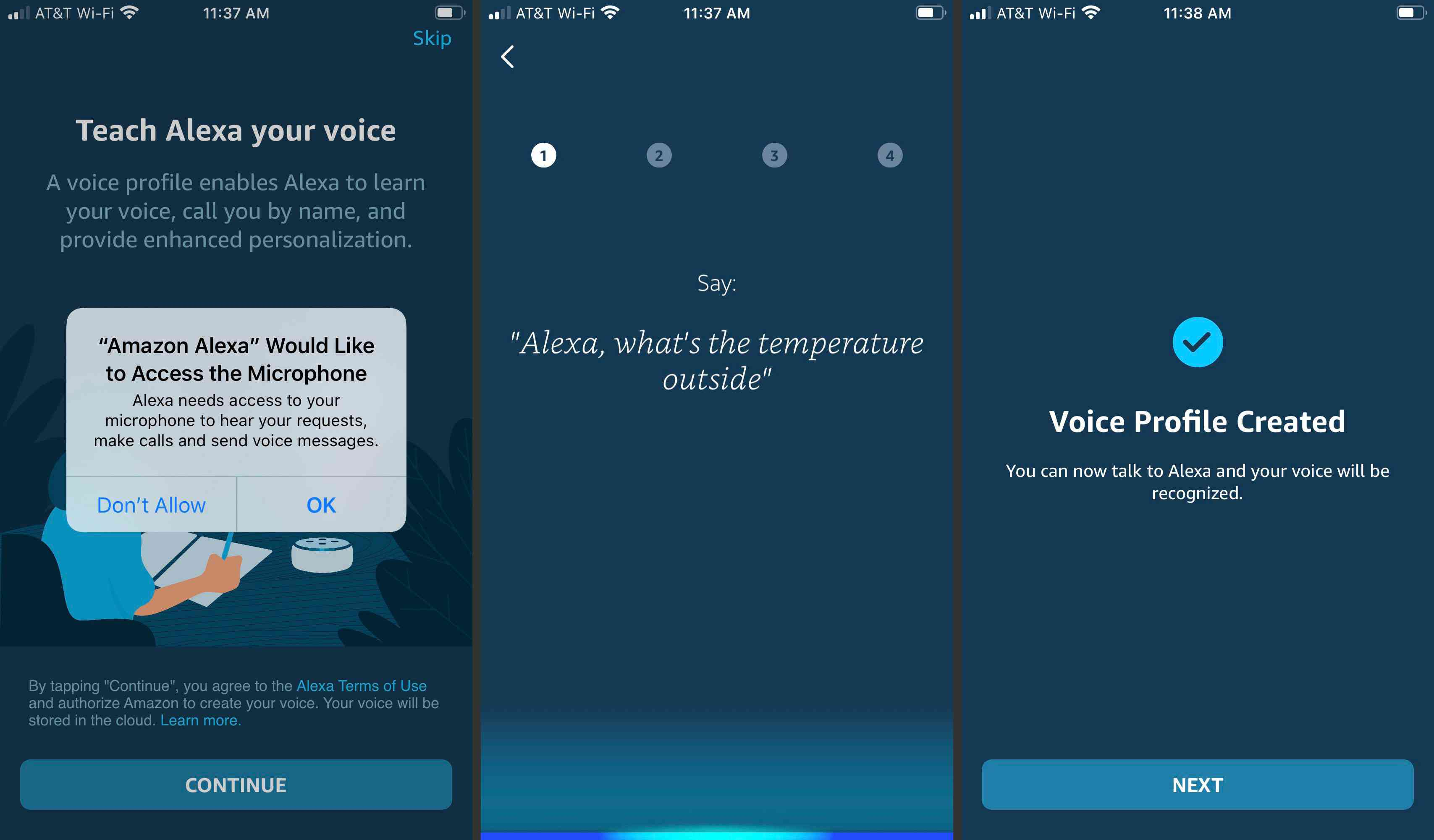 Setting up Alexa in the mobile app