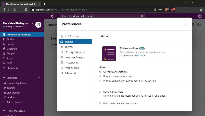 A screenshot of Slack sidebar preferences.