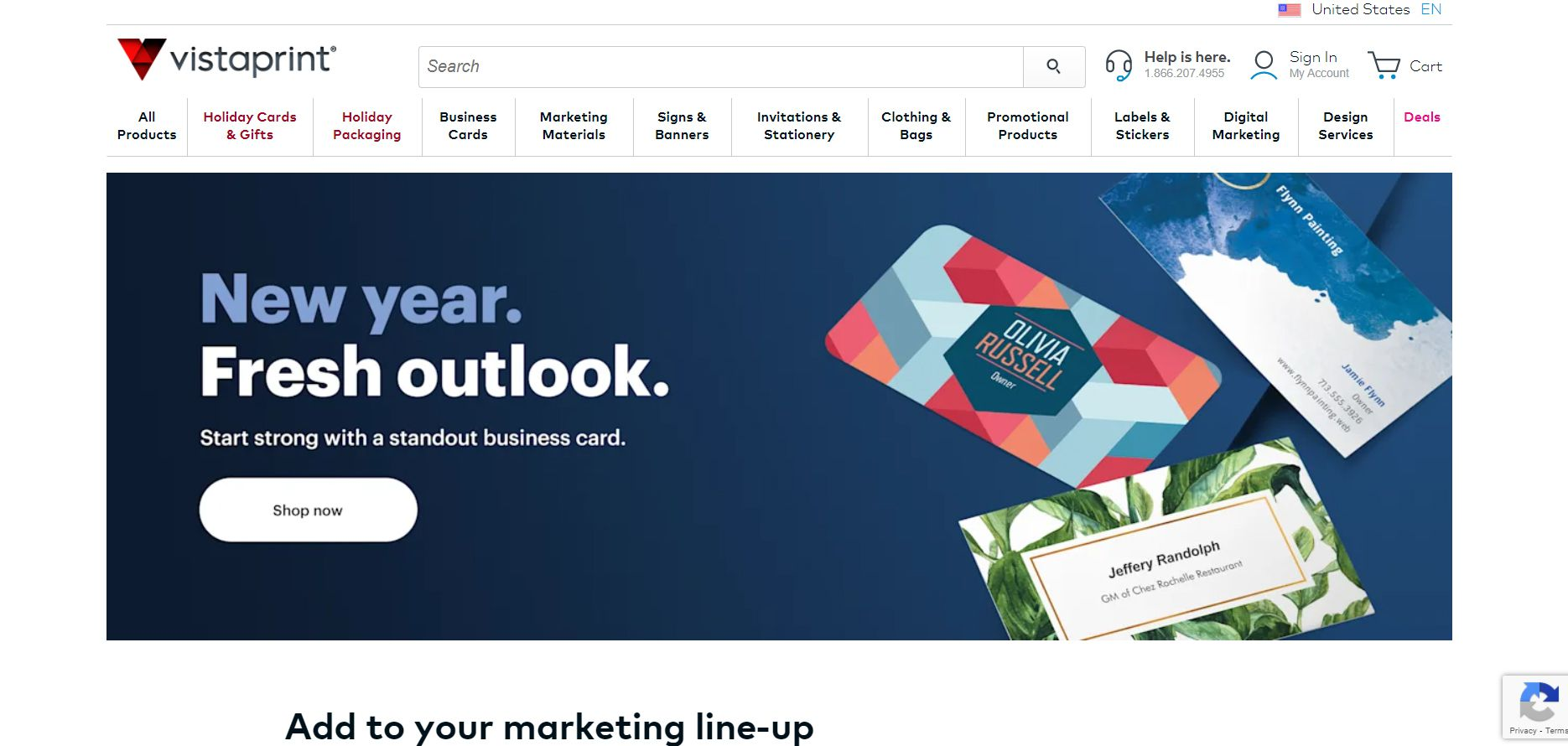 The VistaPrint homepage