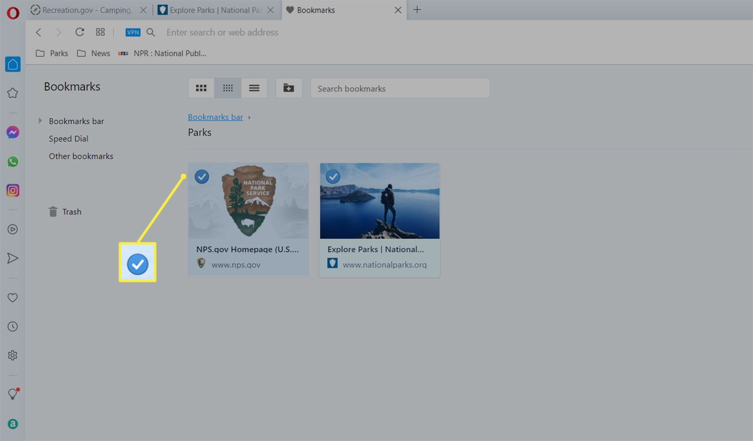 Checkmark highlighted next to bookmark in the Opera browser Bookmarks manager