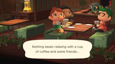 Islanders share some coffee at Brewsters in Animal Crossing: New Horizons for Nintendo Switch