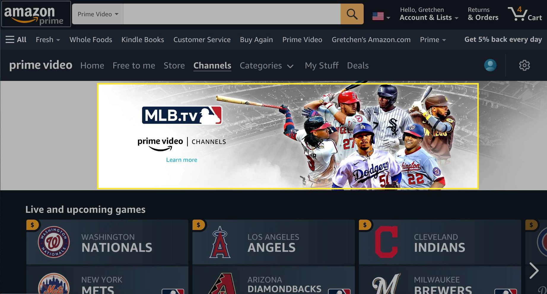 Amazon Prime Video channels with MLB.TV highlighted