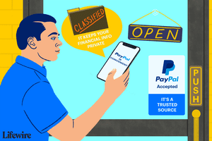 Illustration of a person going into a retail store with PayPal on their phone