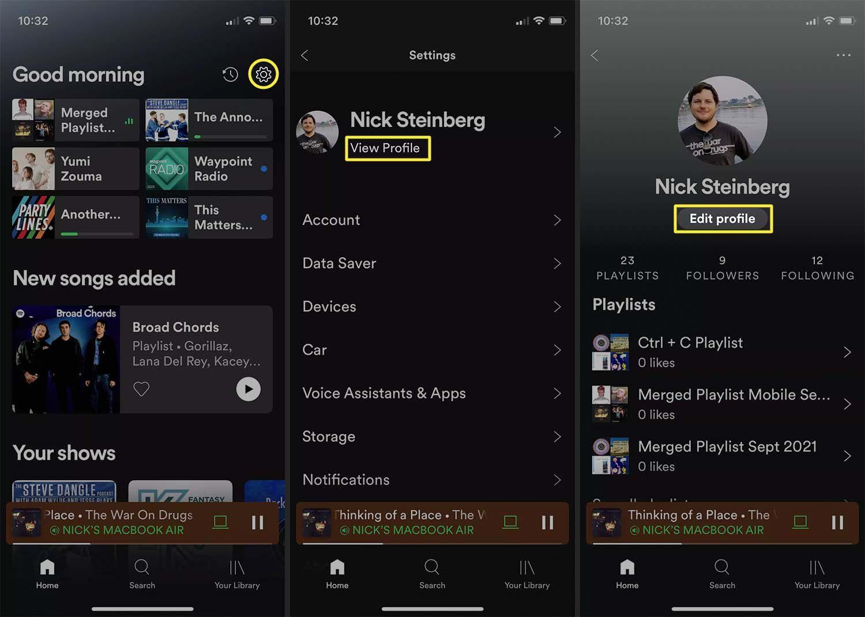 Editing Spotify profile on iOS.
