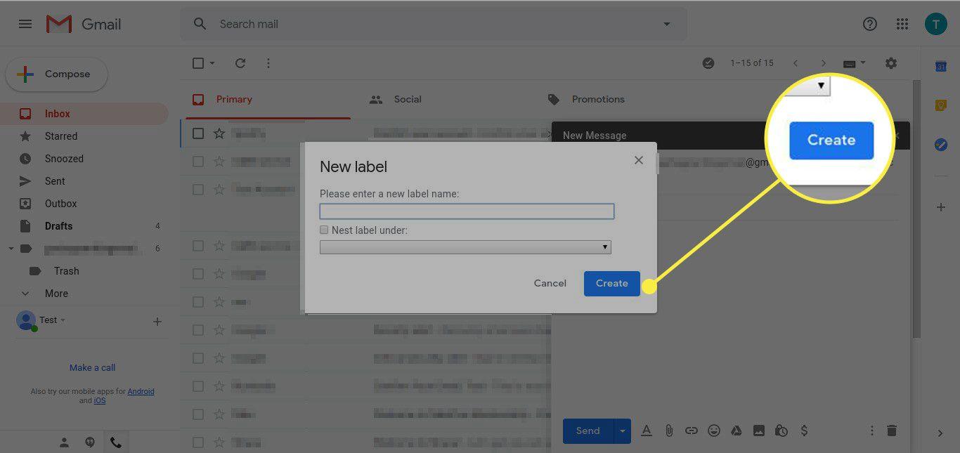 A screenshot of the New Label window in Gmail with the Create button highlighted