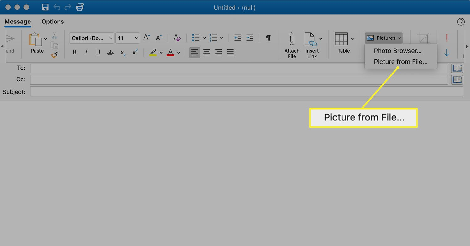 Picture from File selection in Outlook