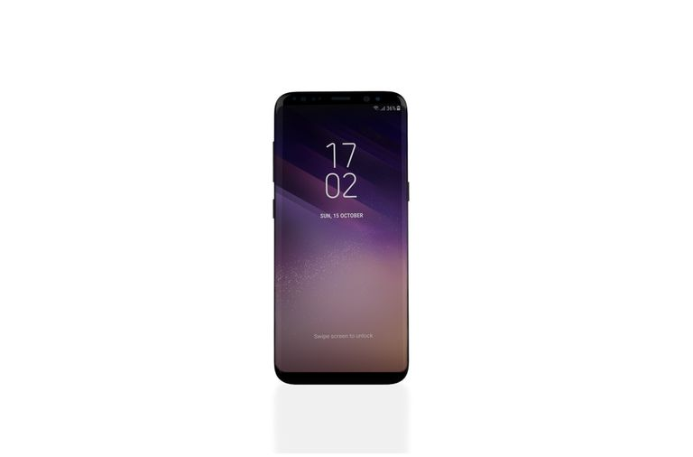 A shot of a Samsung Galaxy S8 phone with a white background.