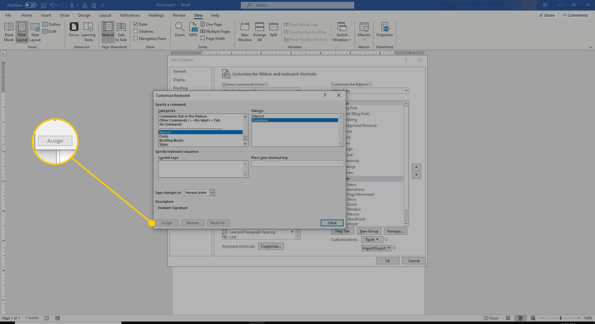 Assign button in Word macro settings