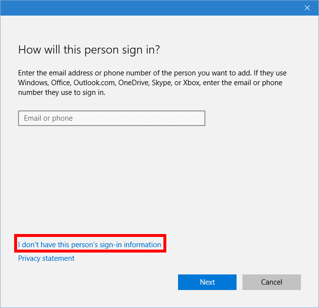 Windows 10 makes it difficult to create a local account.