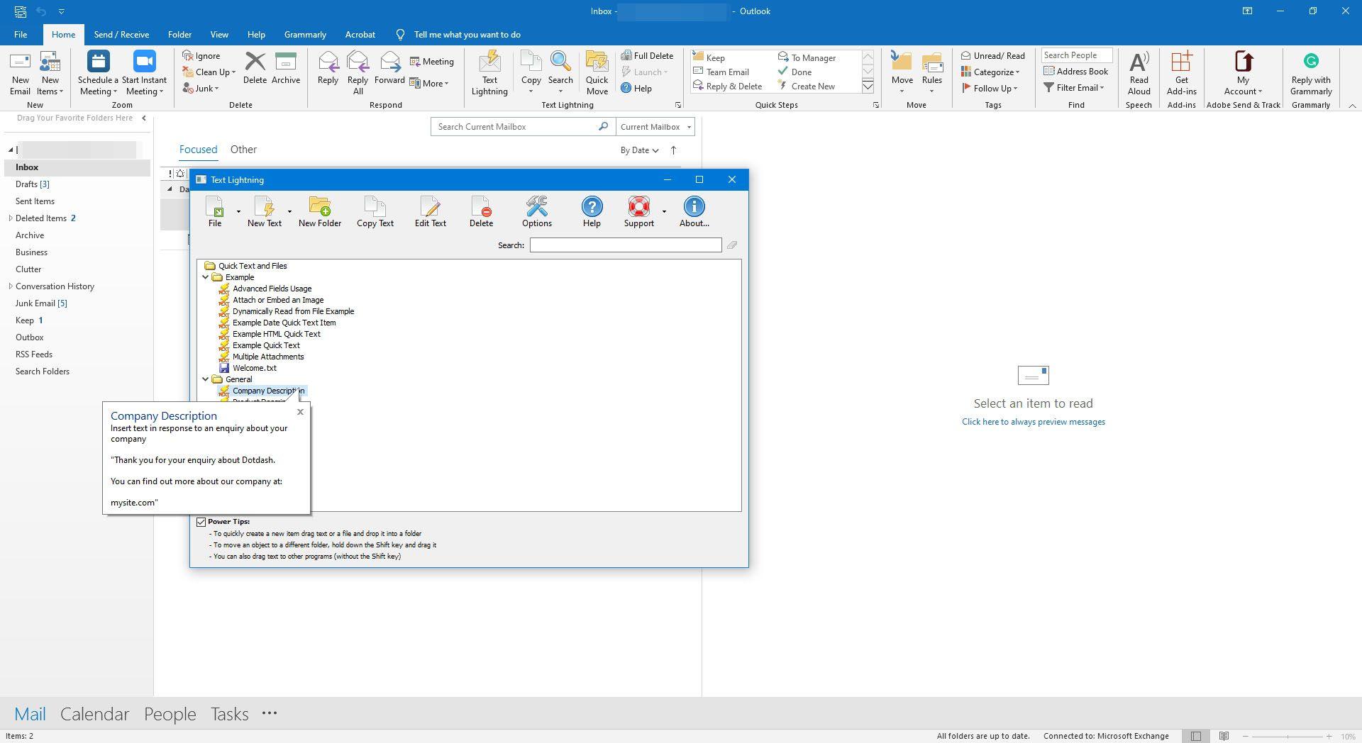 Text Lightning for Outlook.
