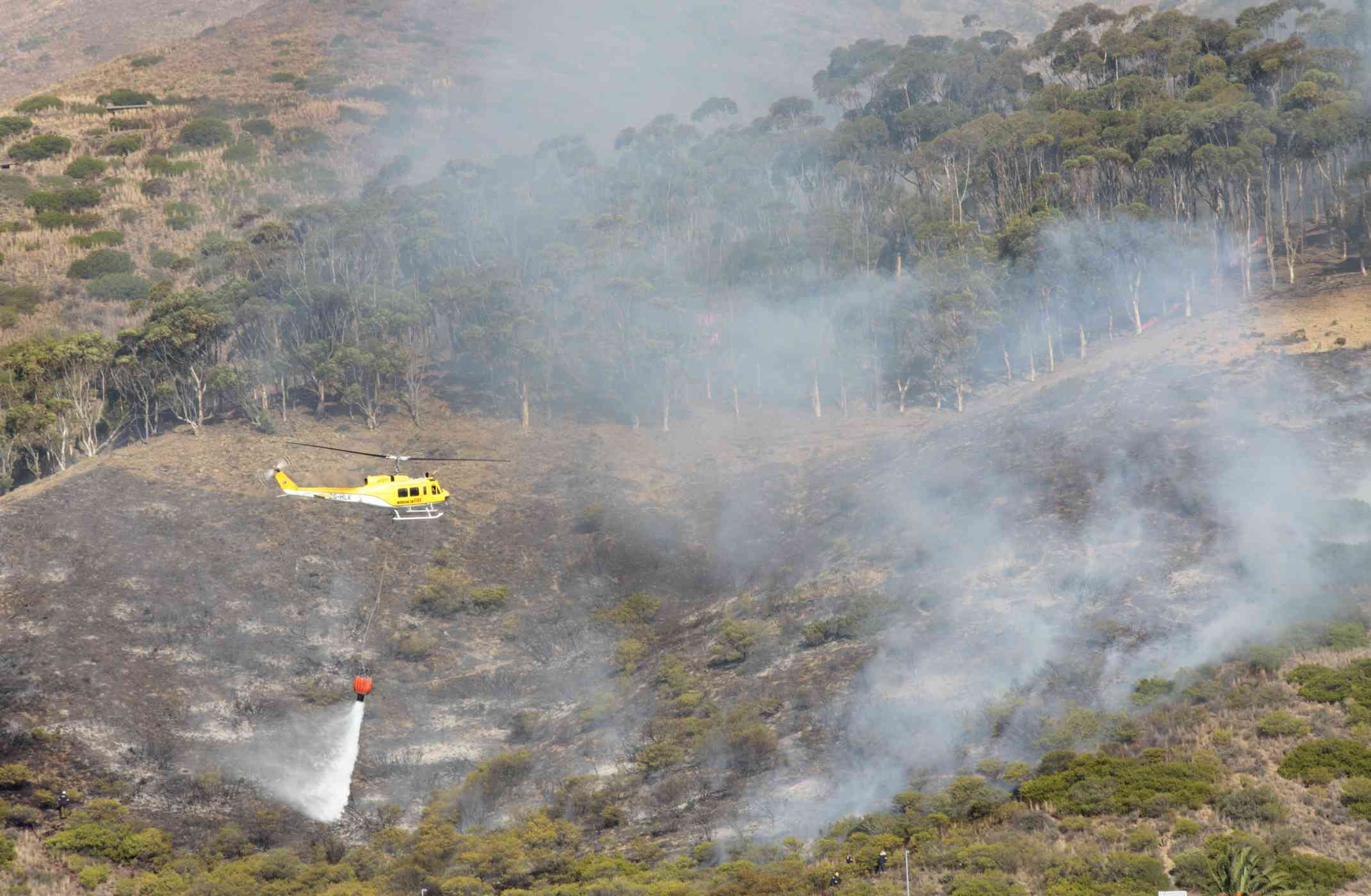 A helicopter dropping water on a wild fire.