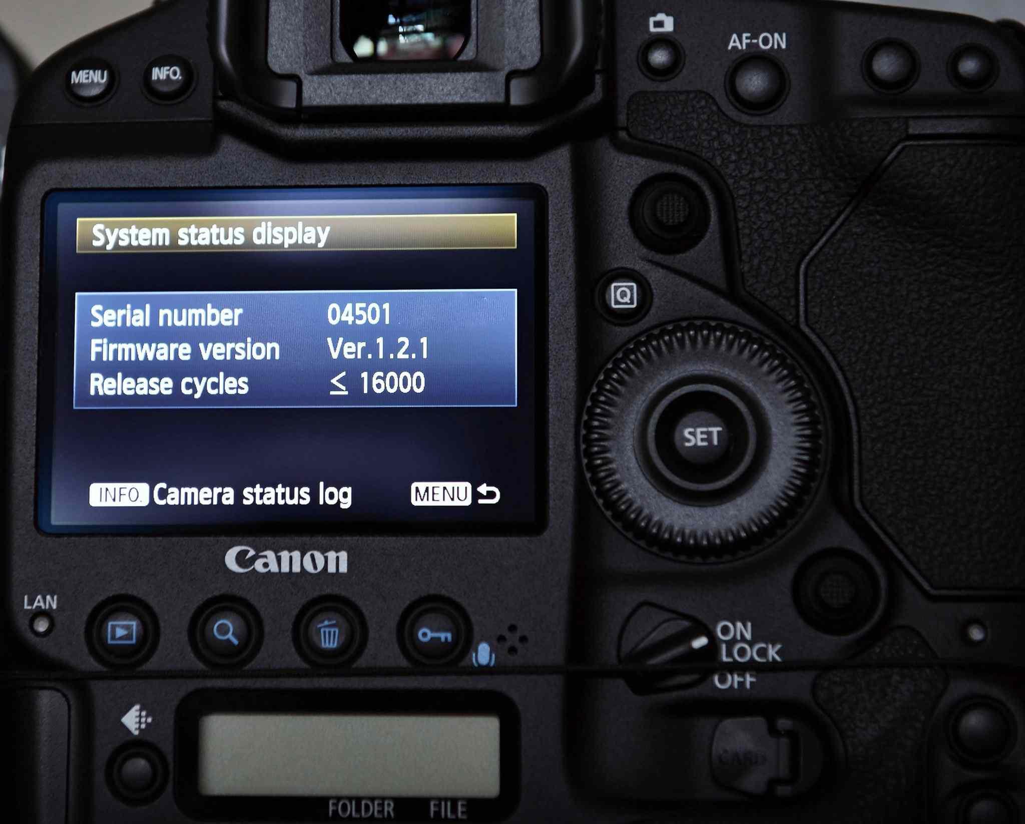 Canon EOS camera system status screen