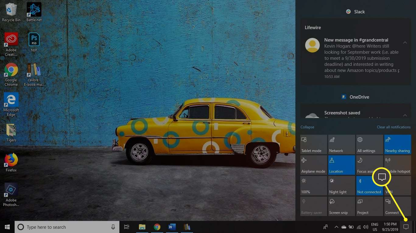 The Windows Action Center icon on the taskbar