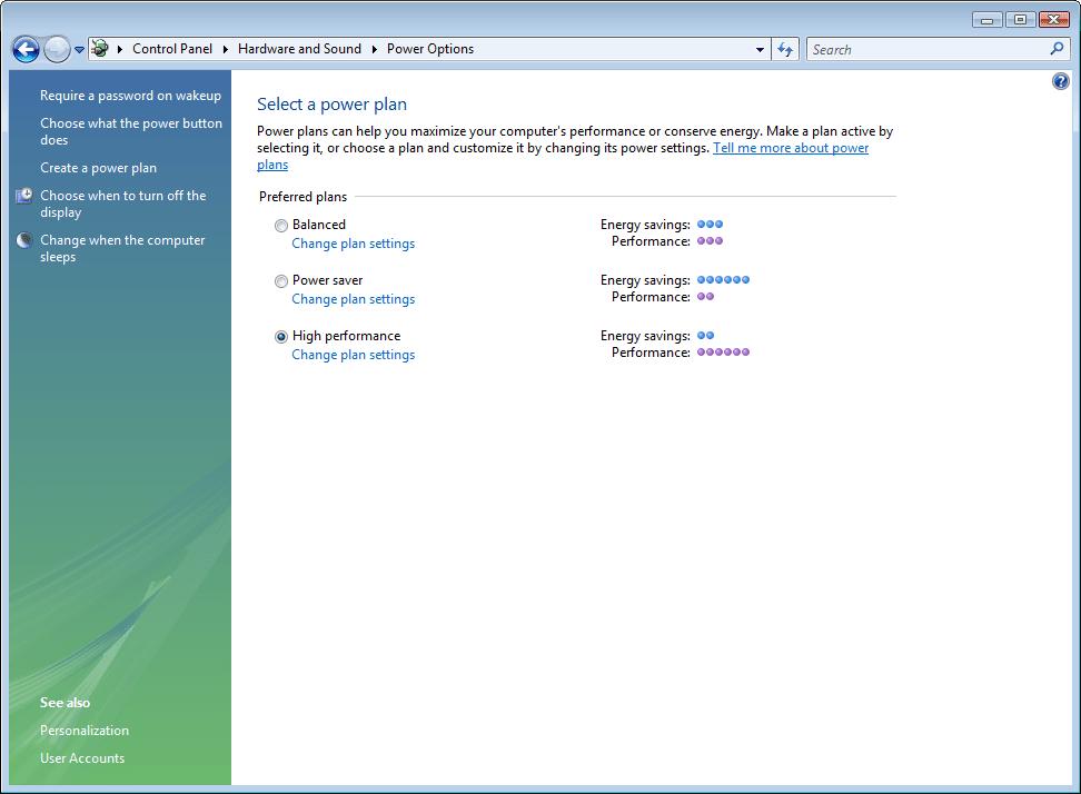 Change plan settings link in Power Options