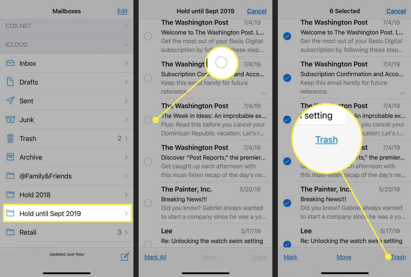 Screenshots of an iPhone showing how to delete messages in a folder in Mail