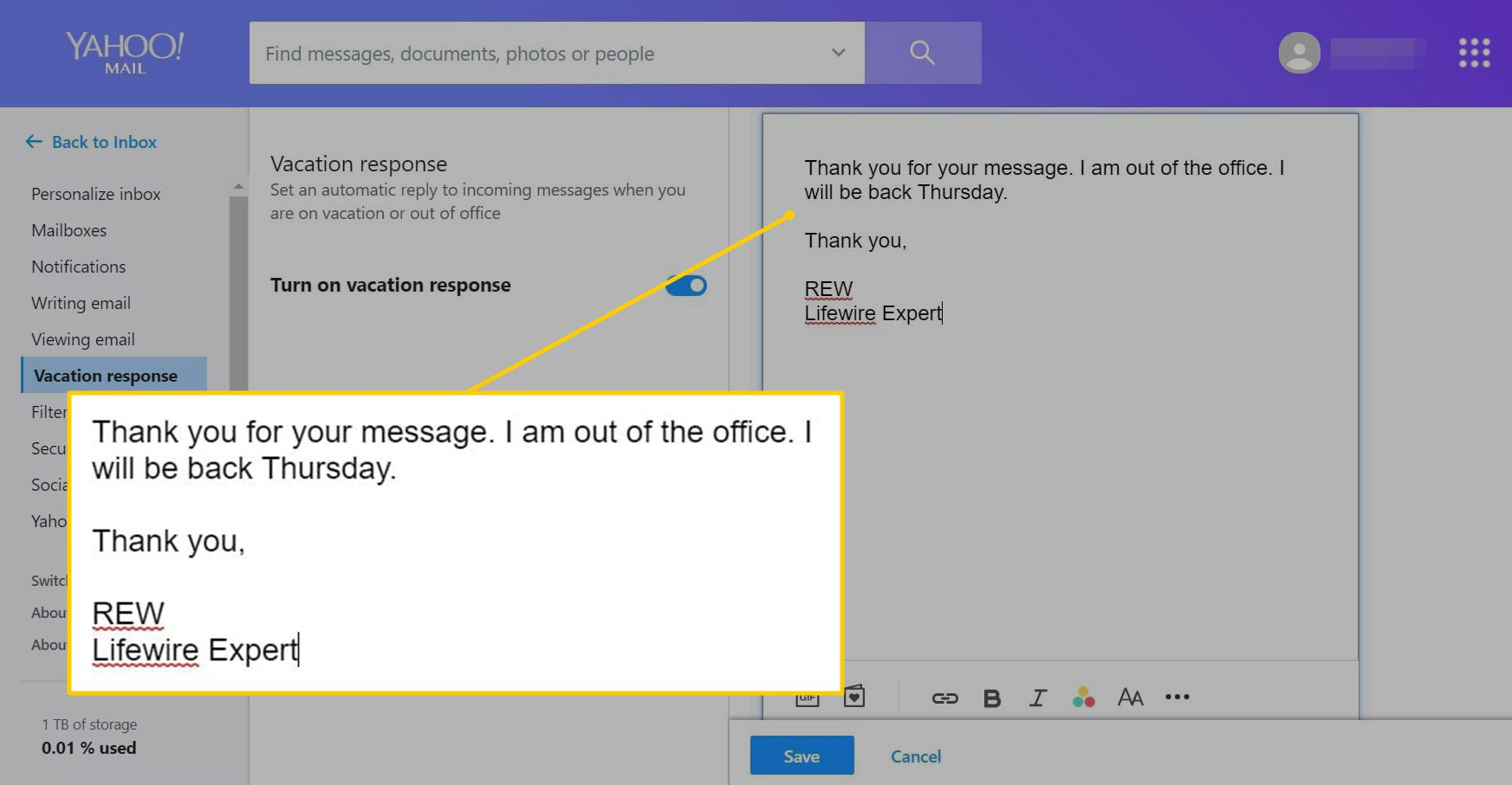 A response message in Yahoo Mail's vacation responder