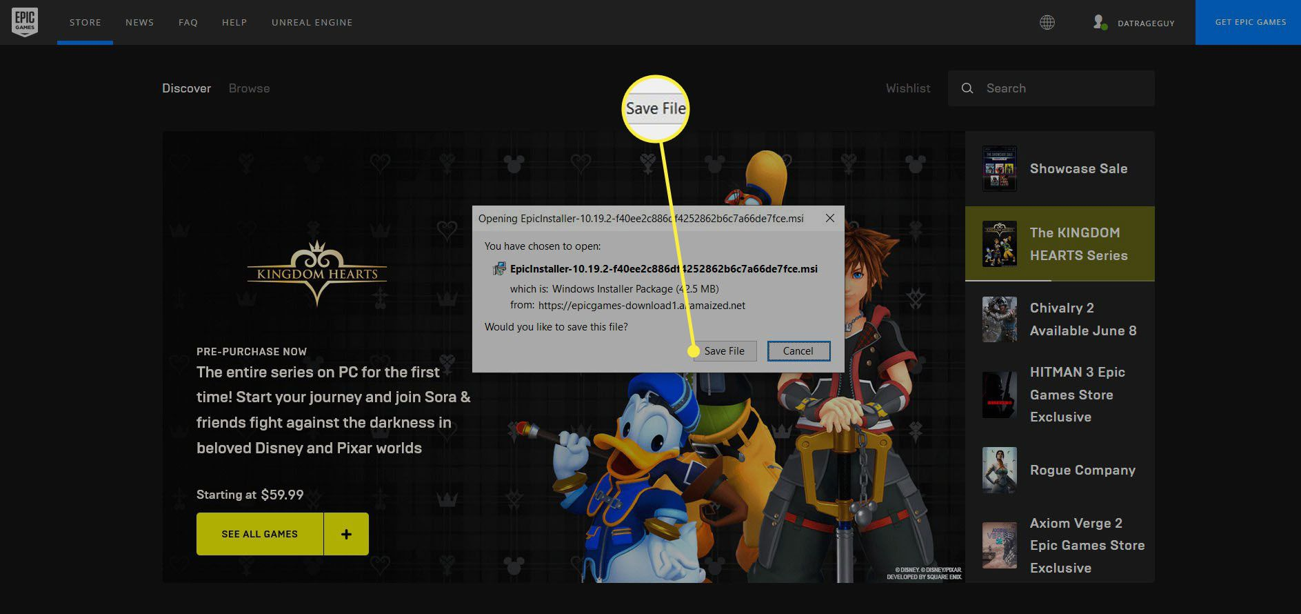 The Epic Games Launcher download popup.