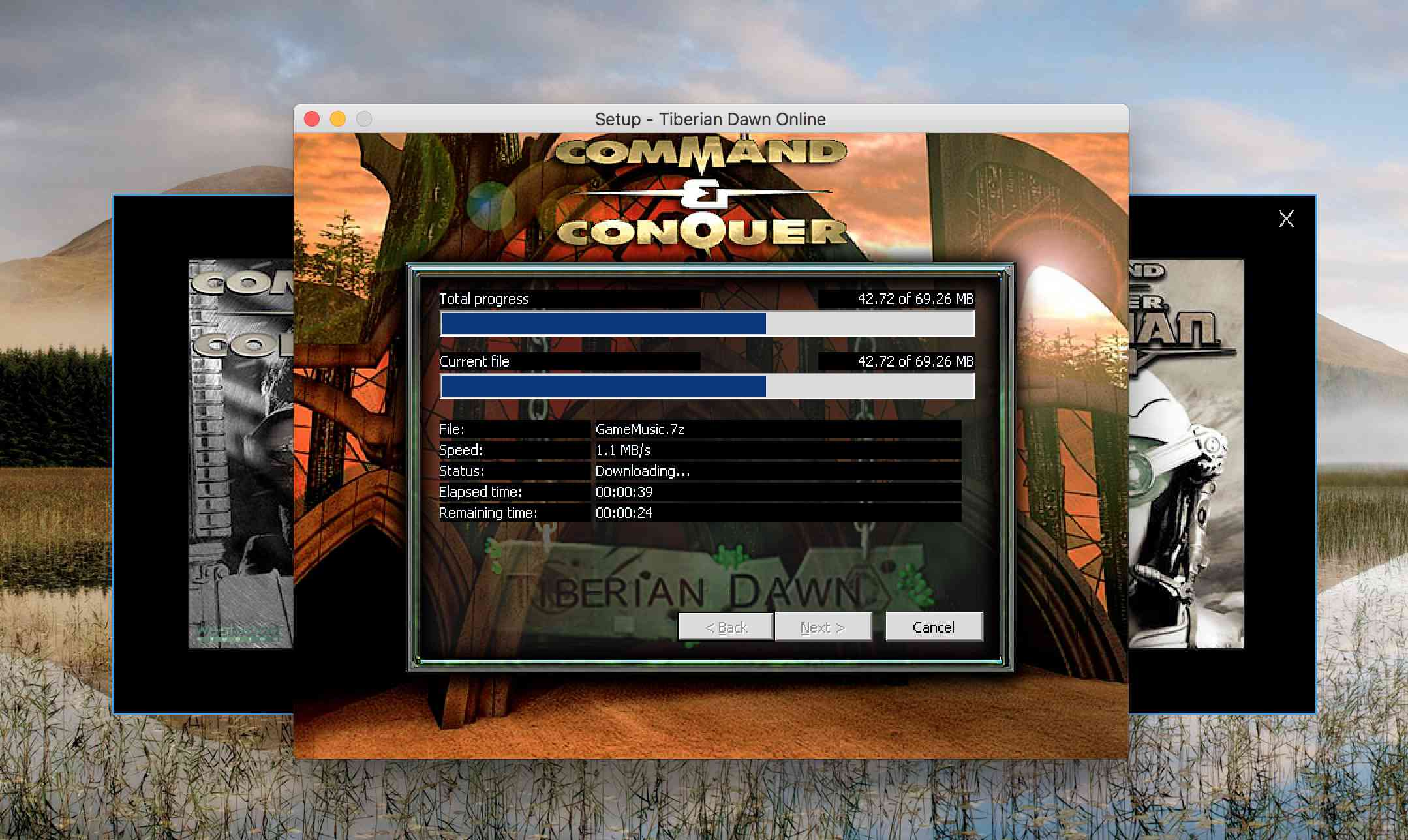 Command & Conquer install screen on macOS