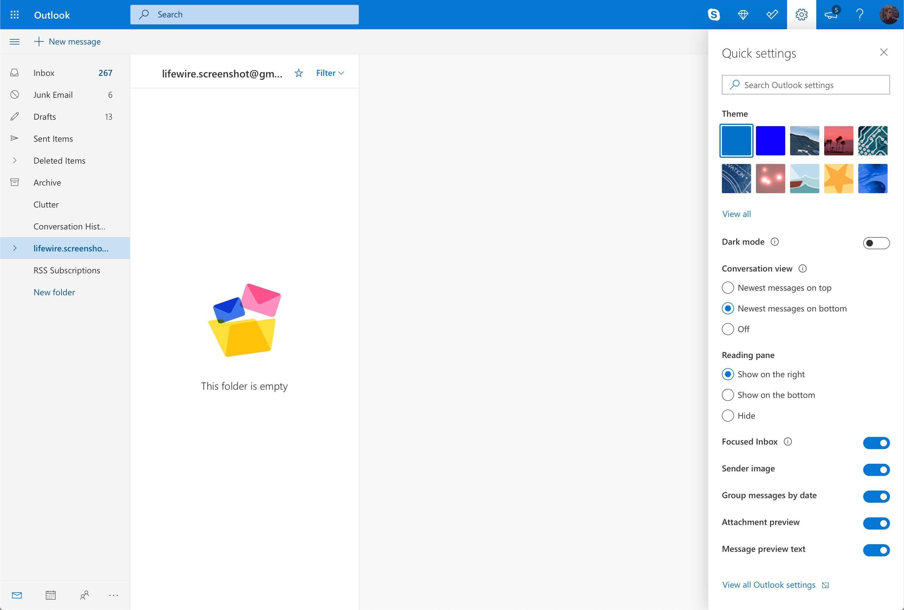 Quick settings menu in Outlook.com
