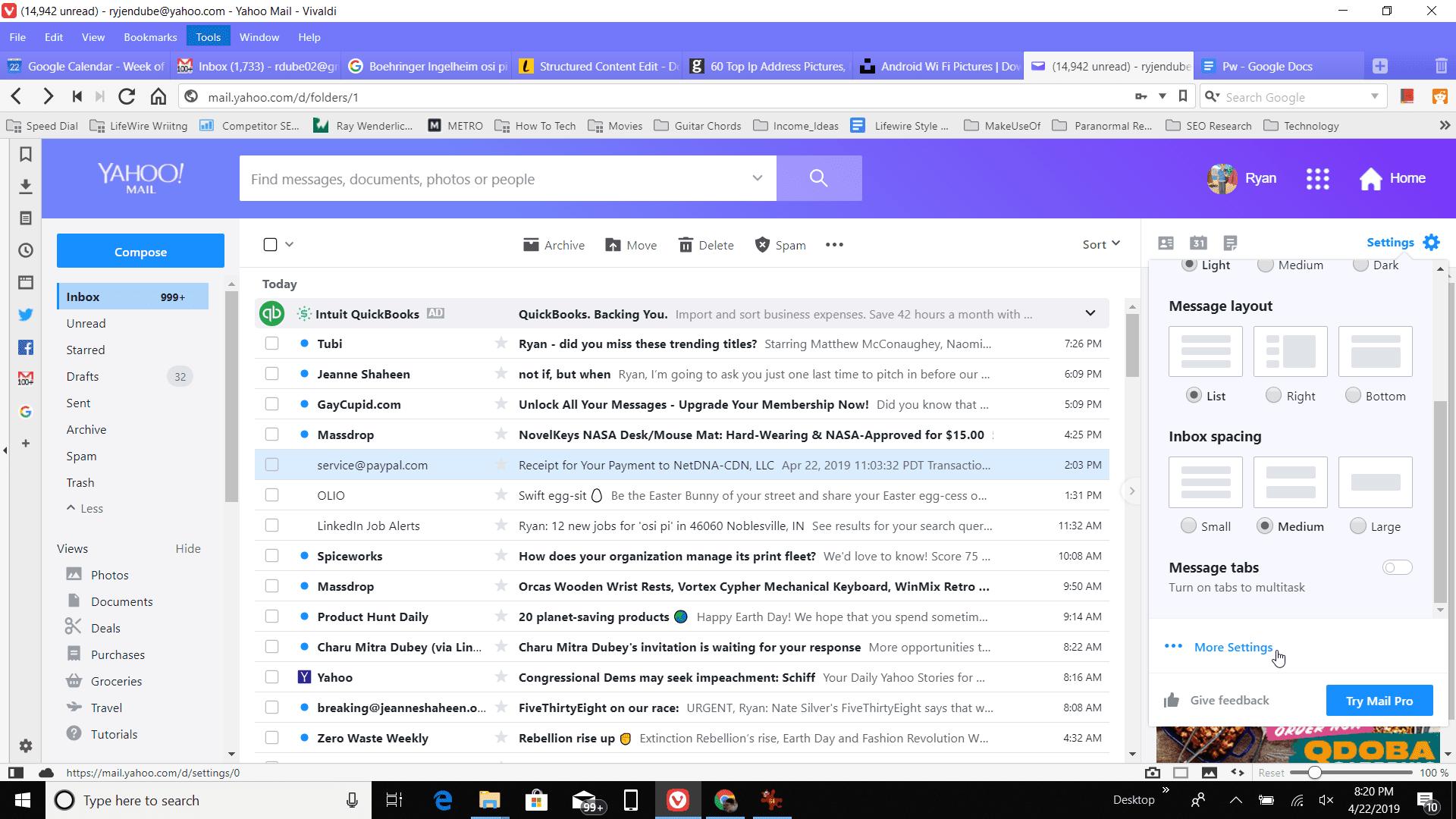 Screenshot of More Settings in Yahoo Settings