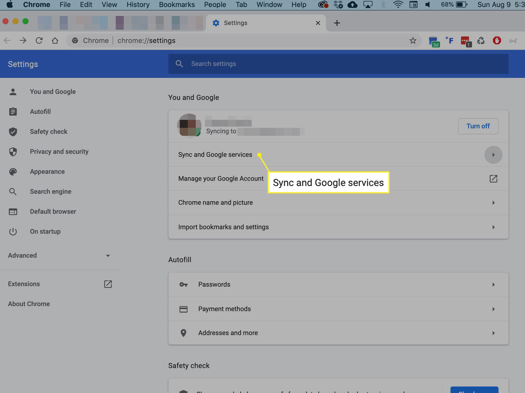 Sync and Google services